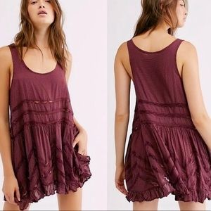 Free People Lace Voile Burgundy Trapeze Dress, XS